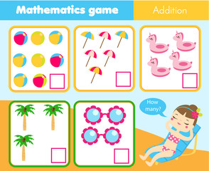 Counting educational children game, kids activity worksheet. How many objects. Learning mathematics, numbers, addition theme. Summer holidays theme