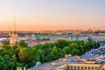 Evening view from the colonnade of the Saint Isaac's Cathedral. St.-Petersburg, Russia Fototapete