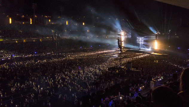 Crowd partying at a rock concert. Aerial view