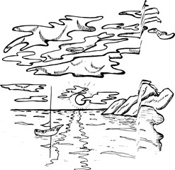 Black and white illustration of a hand-drawn sea horizon and a ship. Cloud, sun and sea.