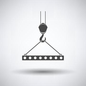 Icon of slab hanged on crane hook by rope slings