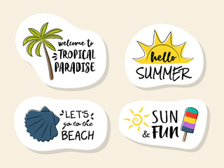 Collection of colourful summer icons. Vector.