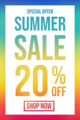 Summer Sale - colourful poster. Vector.