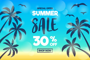 Special offer - discounts for Summer Sale. Colourful poster. Vector.
