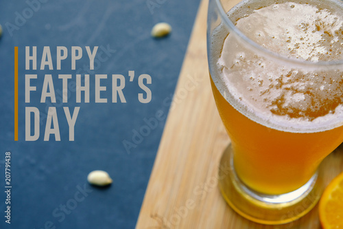 Happy Fathers Day Graphic With Pint Of Beer And Snacking Peanuts In