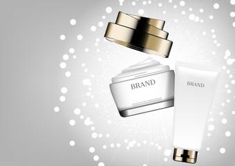 Cosmetic cream on white glitter background