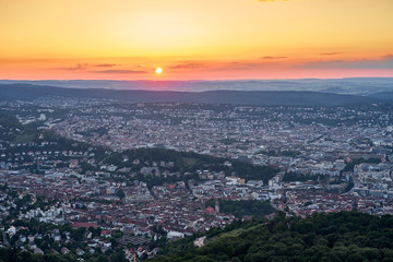 Sunset over Stuttgart City in Germany / View from the first TV Tower in the world