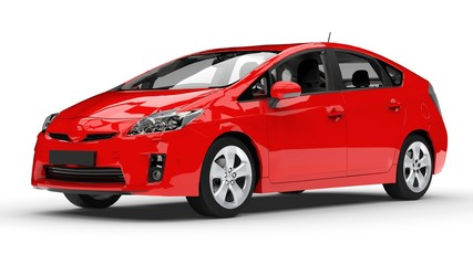Foto op Canvas Snelle auto s Modern family hybrid car red on a white background with a shadow on the ground. 3d rendering.