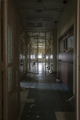 Hallway with solitary confinement cells in prison hospital
