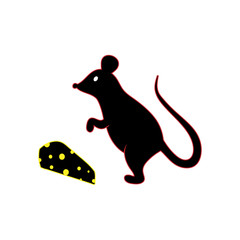 black silhouette of a mouse