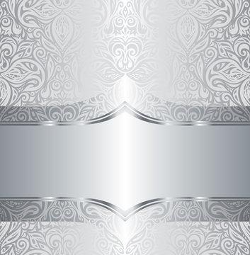 Silver shiny floral vintage pattern wallpaper background design