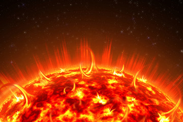 An image of a detailed sun in space. Star, solar storm. The power of the sun in the space with Plasma Background. 3d illustration