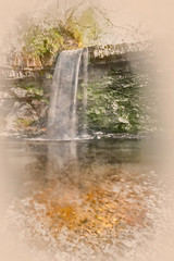 Watercolour painting of Sgwd Gwladys Waterfall in the Breacon Beacons, Neath, UK