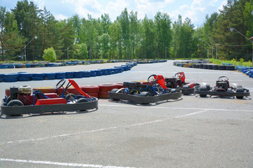 Wall Murals Motor sports Sports carting near the race track.