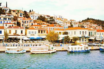 The town of Poros, Poros island, Saronic Gulf, Greece