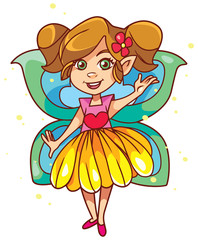 Illustration of happy little cartoon fairy with butterfly wings, on white background.