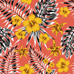 Black white tropical leaves yellow flowers red background