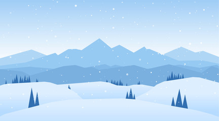 Vector illustration: Winter snowy Mountains landscape with hills and pines