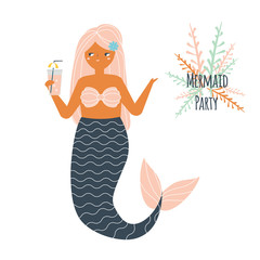 Mermaid holding cocktail. Beach Summer party concept