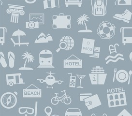 Travel, vacation, tourism, vacation, seamless pattern, grey blue, color, vector. Different types of recreation and ways to travel. Gray pictures on a gray field. Vector, color background.