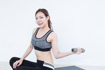 52421273ea626 Young Fitness Asian girl ware sports bra with copy space - Buy this ...