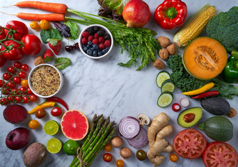 Healthy food vegetables for heart heath on marble