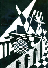 Illustration of an architectural abstract composition.