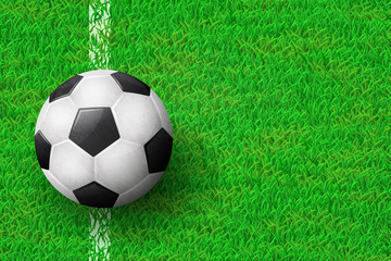 Realistic soccer ball on field from above view. EPS 10