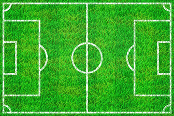 Soccer field  with marking lines on grass texture from above view. EPS 10