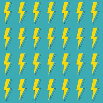 Seamless pattern lightning thunder bolt pictogram icons set elements design vector illustration.