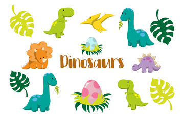 Estores personalizados com sua foto Dinosaur icons in flat style for designing dino party, children holiday, dinosaurus related materials