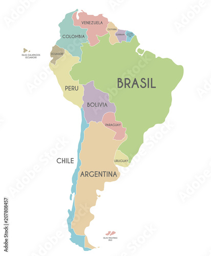 Political South America Map vector illustration isolated on white ...