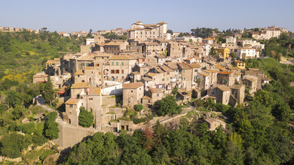 Aerial view of the village of Castelnuovo di Porto, near Rome, in Italy. The village is built perched on a hill and overlooks a green valley full of trees. At the top there is the medieval castle.