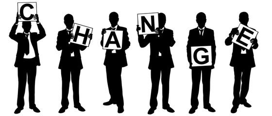 People holding change panels isolated on white