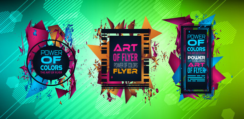 Cover or Flyer layout with Geometric colorful background with high saturated gradients