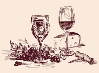 Sketch of wine glasses, grape,cheese and corkscrew