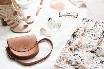 Feminine flat lay, fashion bloggers beauty objects