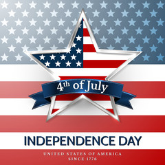 4 th july usa star, independence day. Vector illustration