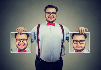 Cheerful man showing different photos with emotions