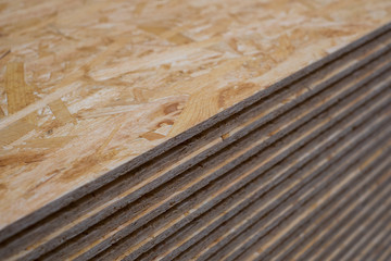 stack chipboard planks , plywood  osb  panels