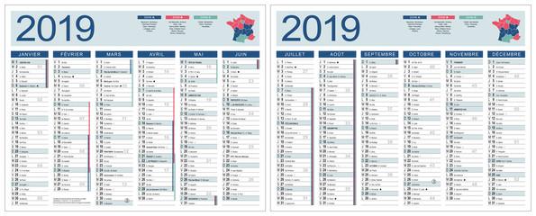 CALENDRIER 2019 VECTORISÉ (base pour 265x210mm recto-verso) lunes, fêtes, jours fériés, vacances, chang. heure, 14 calques, ech1