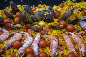 Paella with seafood. Traditional Spanish dish