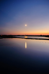 Beautiful landscape of moon over the sea