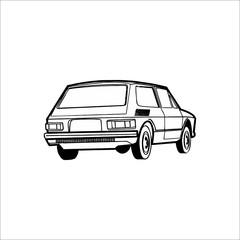 Car icon. Vector Illustration. White color