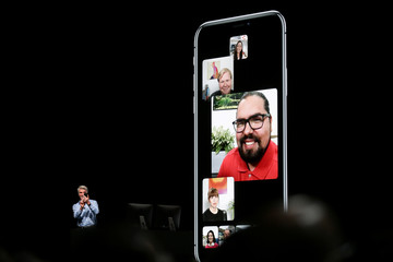 Apple senior vice president of Software Engineering Craig Federighi introduces group Facetime at the Apple Worldwide Developer conference (WWDC) in San Jose