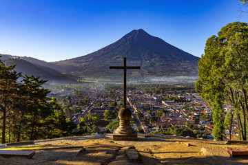 Guatemala. Antigua. Cerro de la Cruz - viewpoint over town, there is Agua volcano opposite the cross (devoted to the city's patron, St. James)