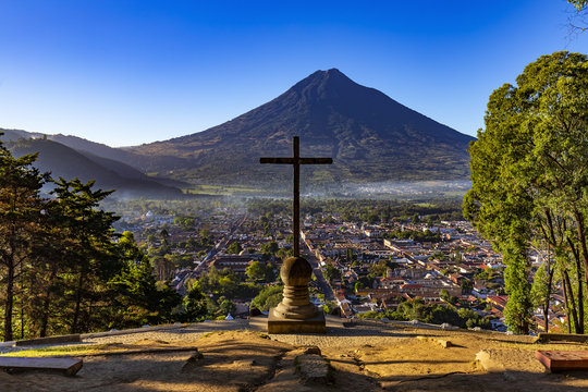 Guatemala. Antigua. Cerro de la Cruz - viewpoint over town, there is Agua volcano opposite the cross (devoted to the city's patron, St. James)