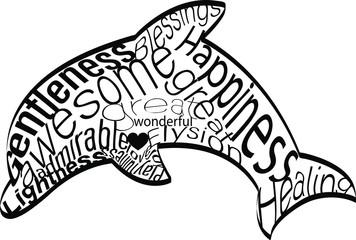 Krafttier Delphin als Wortwolke