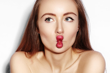 Funny Fish Lips Face with Exprissive Emotions. Beautiful Model Girl with Makeup, Red Lip, Perfect Skin. Sexy Fishlips