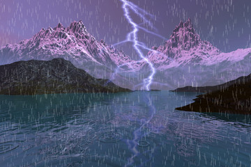 Storm, an autumn landscape, rain and a big lightning over the lake, rocks and snowy mountains in the background.